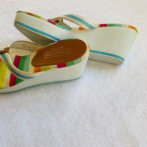 Coach flip flop multi colored wedges